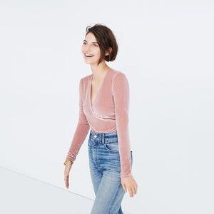 Madewell Pink Velvet Long Sleeve Bodysuit